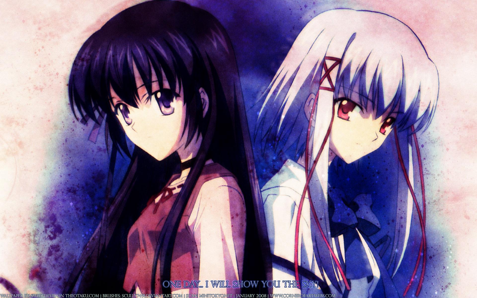 black_hair choker close logo morimiya_aono purple_eyes red_eyes shihou_matsuri sola twintails watermark white_hair