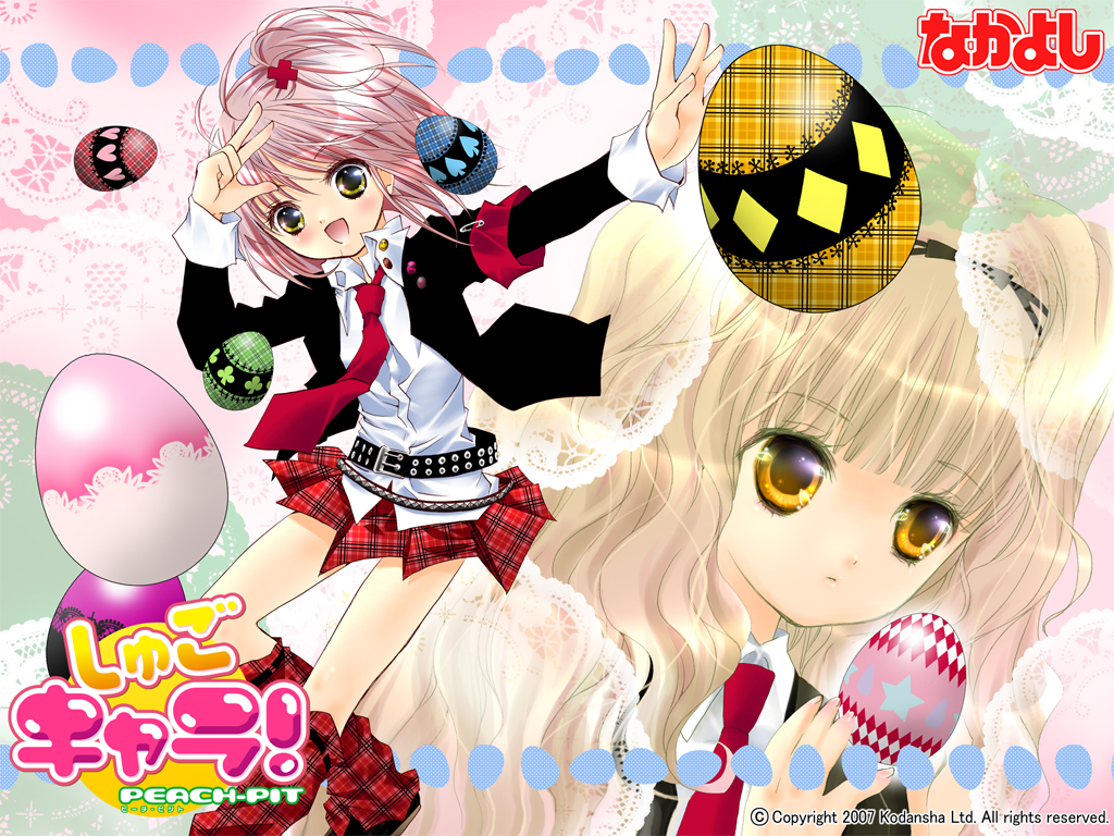 2girls blonde_hair boots hinamori_amu logo mashiro_rima nakayoshi peach-pit pink_hair school_uniform short_hair shugo_chara skirt tie yellow_eyes
