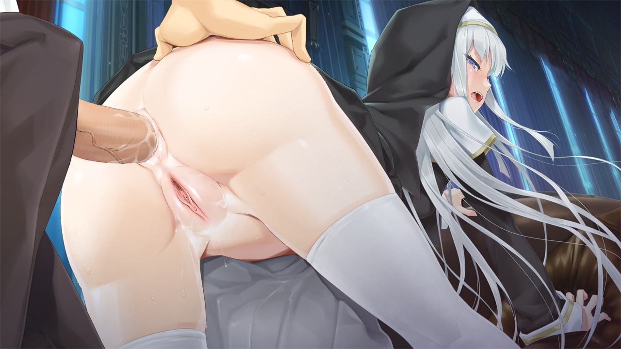 anal ass bishoujo mangekyou blue eyes fang game cg happoubi jin headband hoodie kagarino kirie long hair nopan nun omega star penis photoshop pussy pussy juice sex thighhighs uncensored vampire white hair