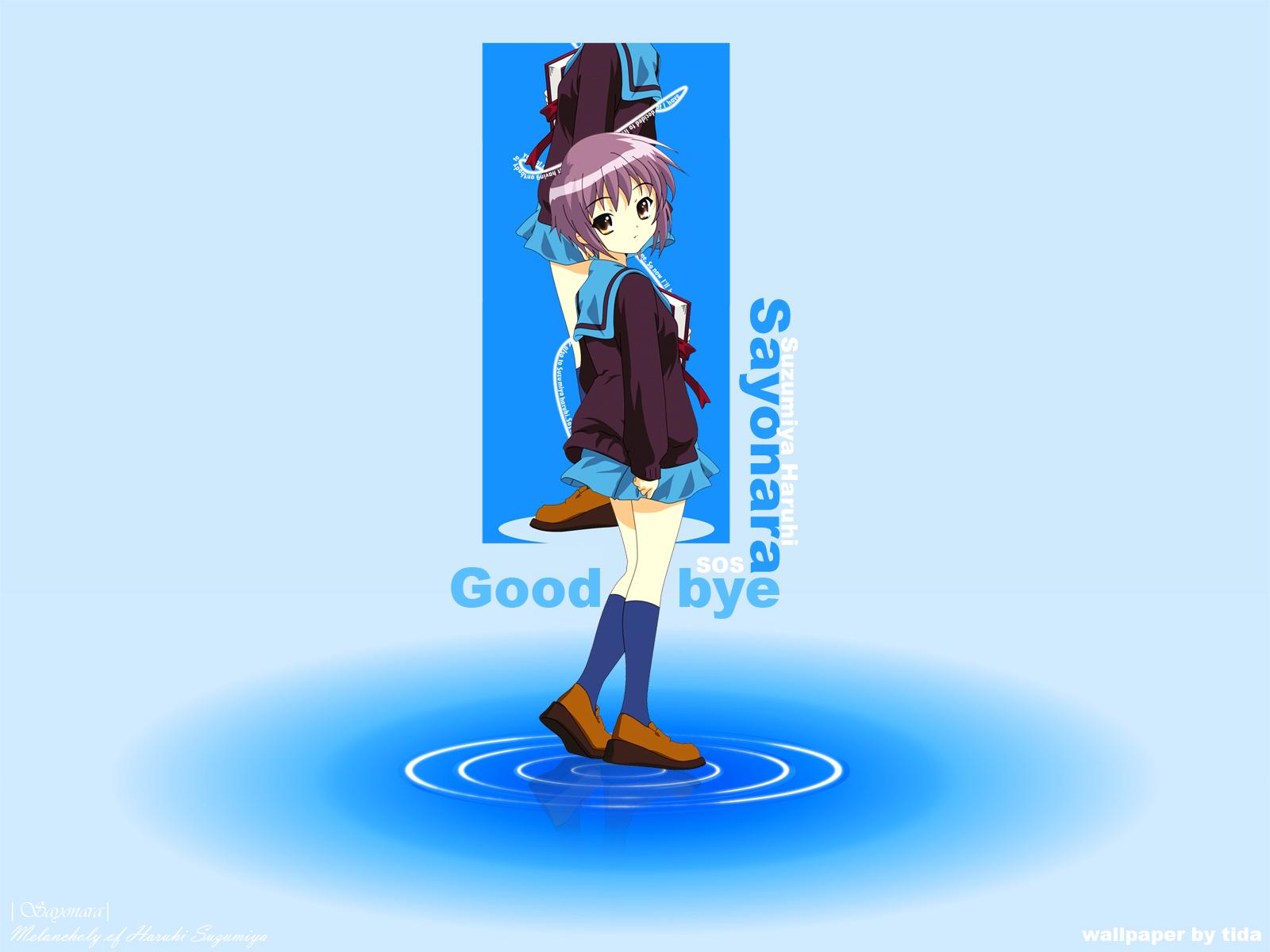 blue book bow brown_eyes gradient itou_noiji kneehighs nagato_yuki purple_hair school_uniform short_hair skirt suzumiya_haruhi_no_yuutsu water