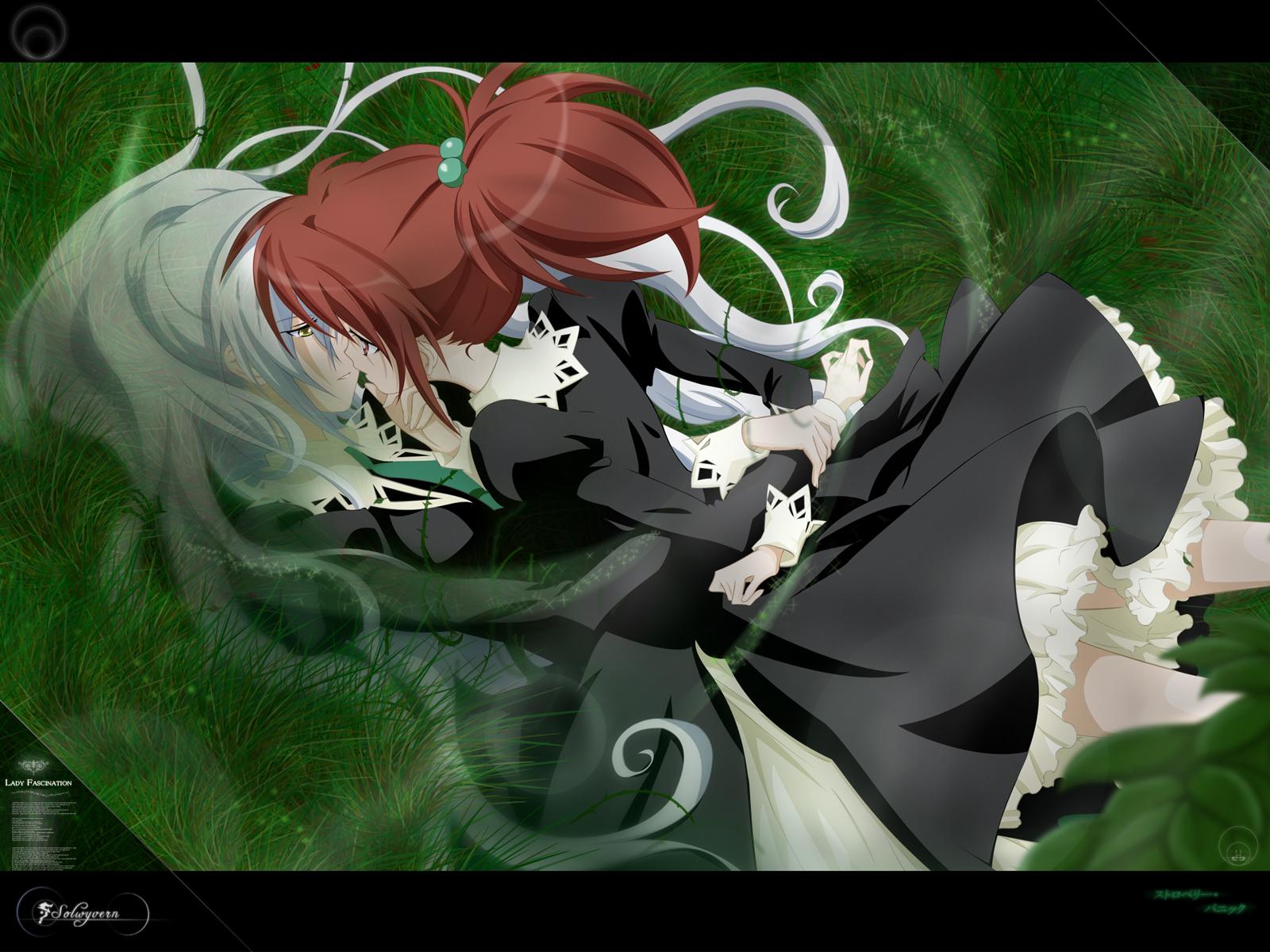 2girls aoi_nagisa grass hanazono_shizuma school_uniform shoujo_ai strawberry_panic