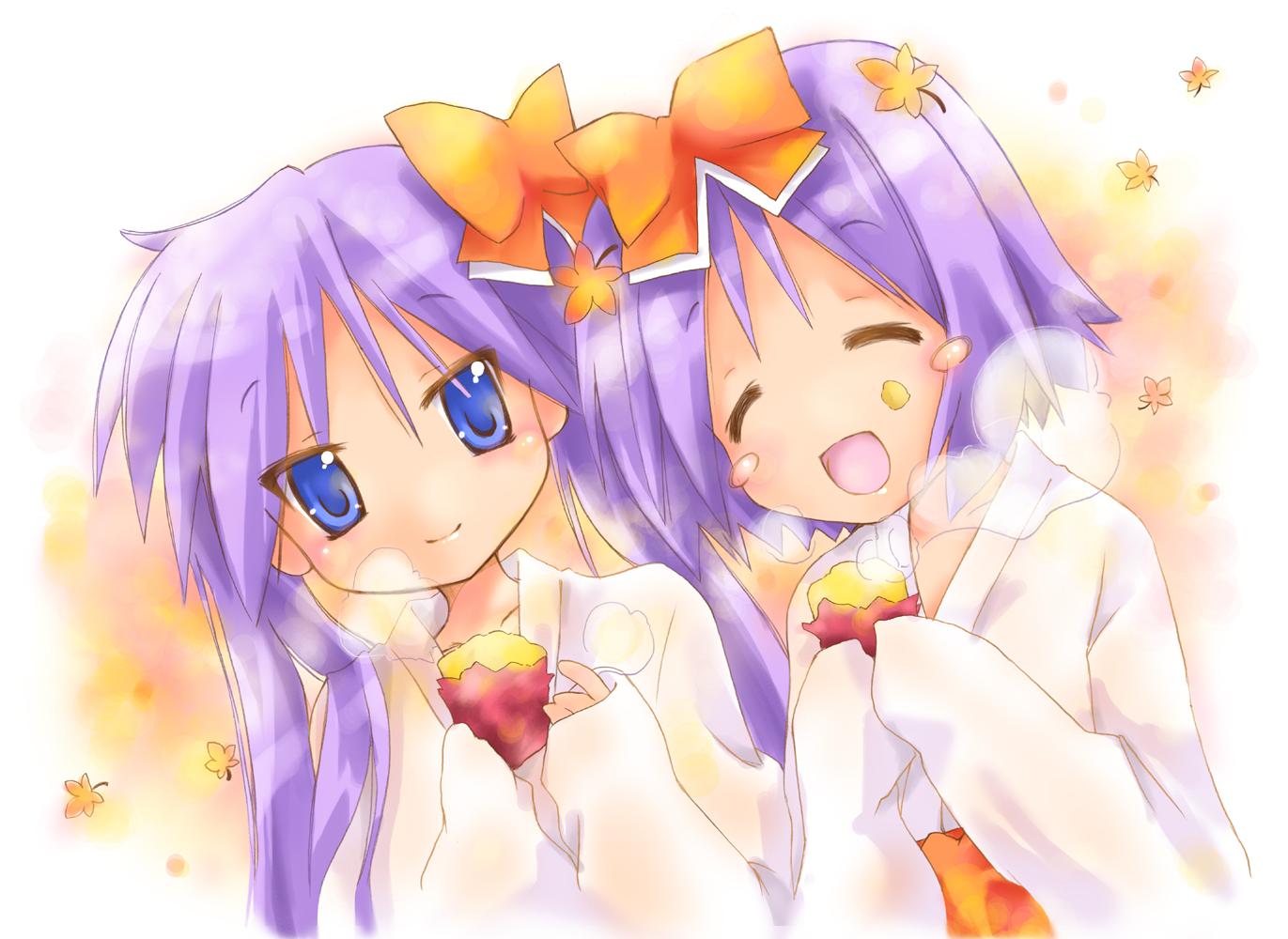 blue_eyes hiiragi_kagami hiiragi_tsukasa japanese_clothes long_hair lucky_star miko nyanmilla purple_hair short_hair twintails