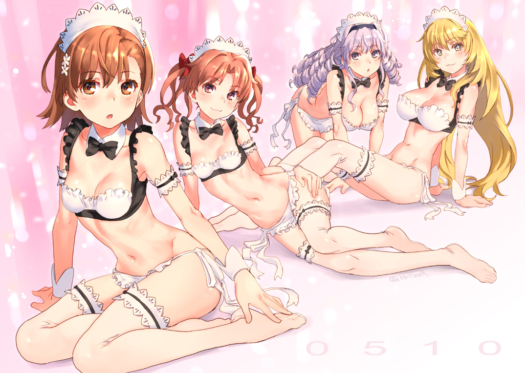 apron blonde_hair blush breasts brown_eyes brown_hair cleavage group hokaze_junko long_hair maid misaka_mikoto navel purple_hair reika shirai_kuroko shokuhou_misaki short_hair thighhighs to_aru_majutsu_no_index twintails yellow_eyes