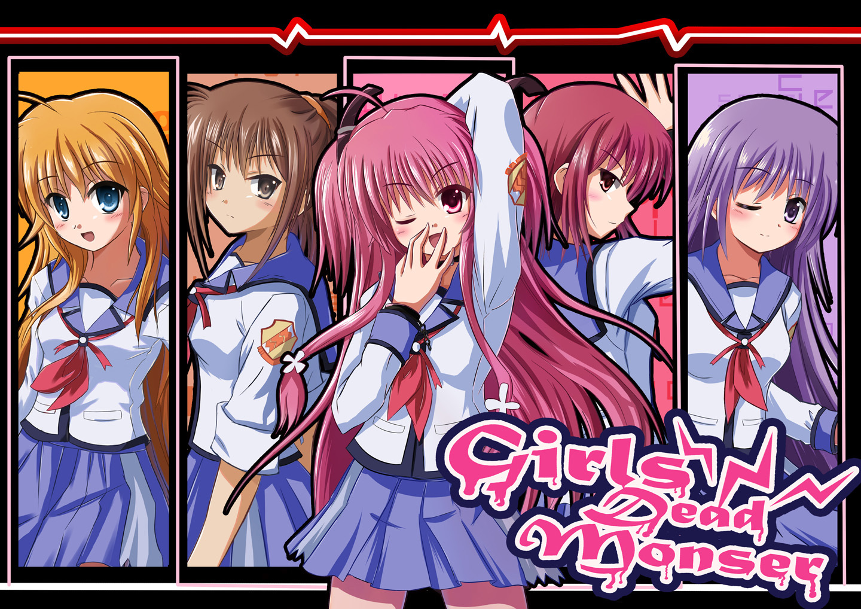 angel_beats! hisako irie_miyuki iwasawa_masami pink_hair purple_hair rayhwang red_hair school_uniform sekine_shiori yui_(angel_beats!)