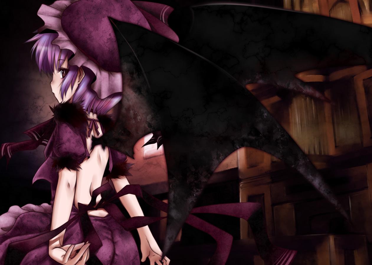 brown_eyes fujisaki_hikari hat purple_hair remilia_scarlet short_hair touhou vampire wings