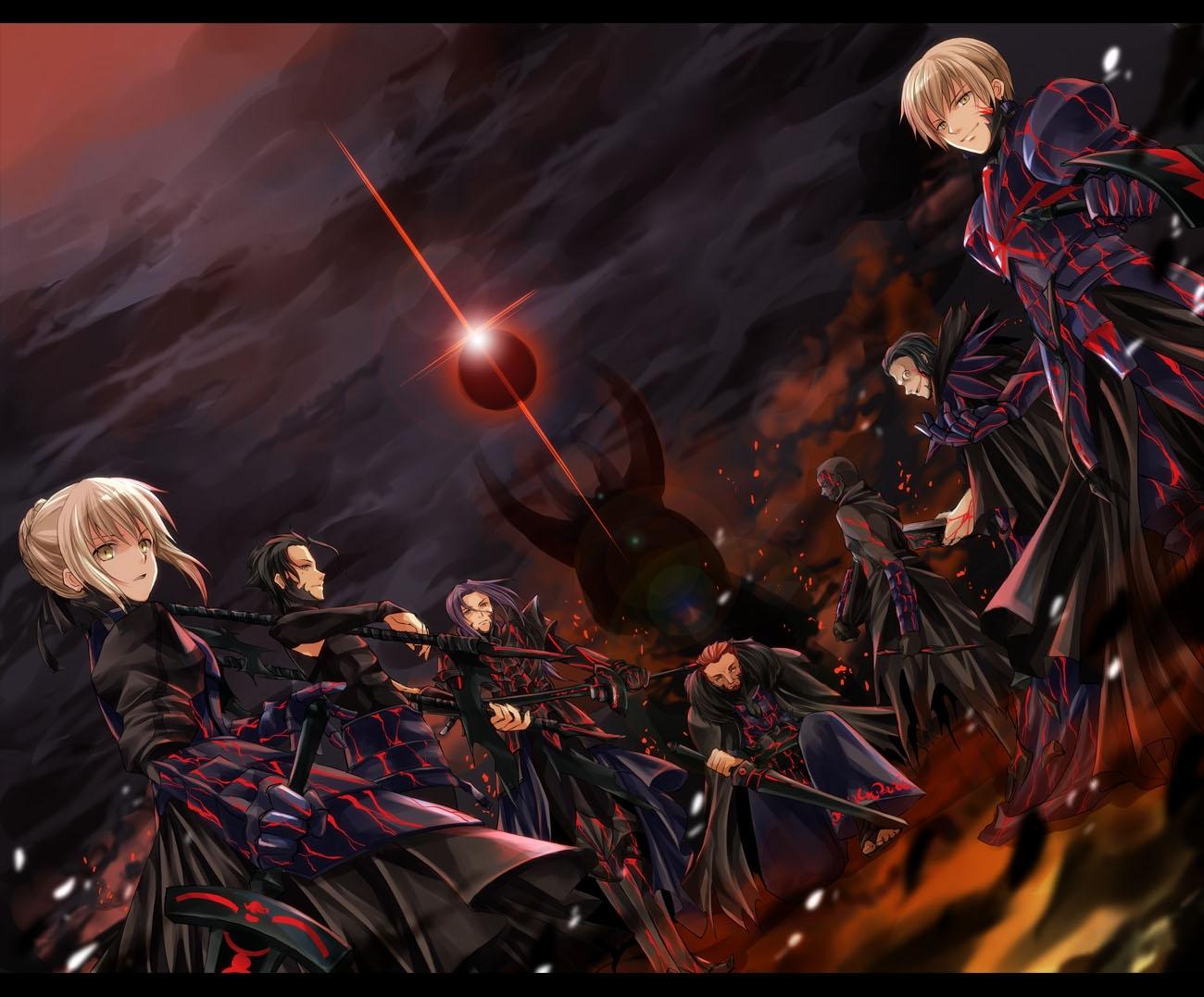 alexander_(fate) armor artoria_pendragon_(all) blonde_hair diarmuid_ua_duibhne_(fate) dress fate_(series) fate/stay_night fate/zero gilgamesh gilles_de_rais_(fate) iroha_(shiki) jpeg_artifacts lancelot_(fate) male saber sword true_assassin weapon