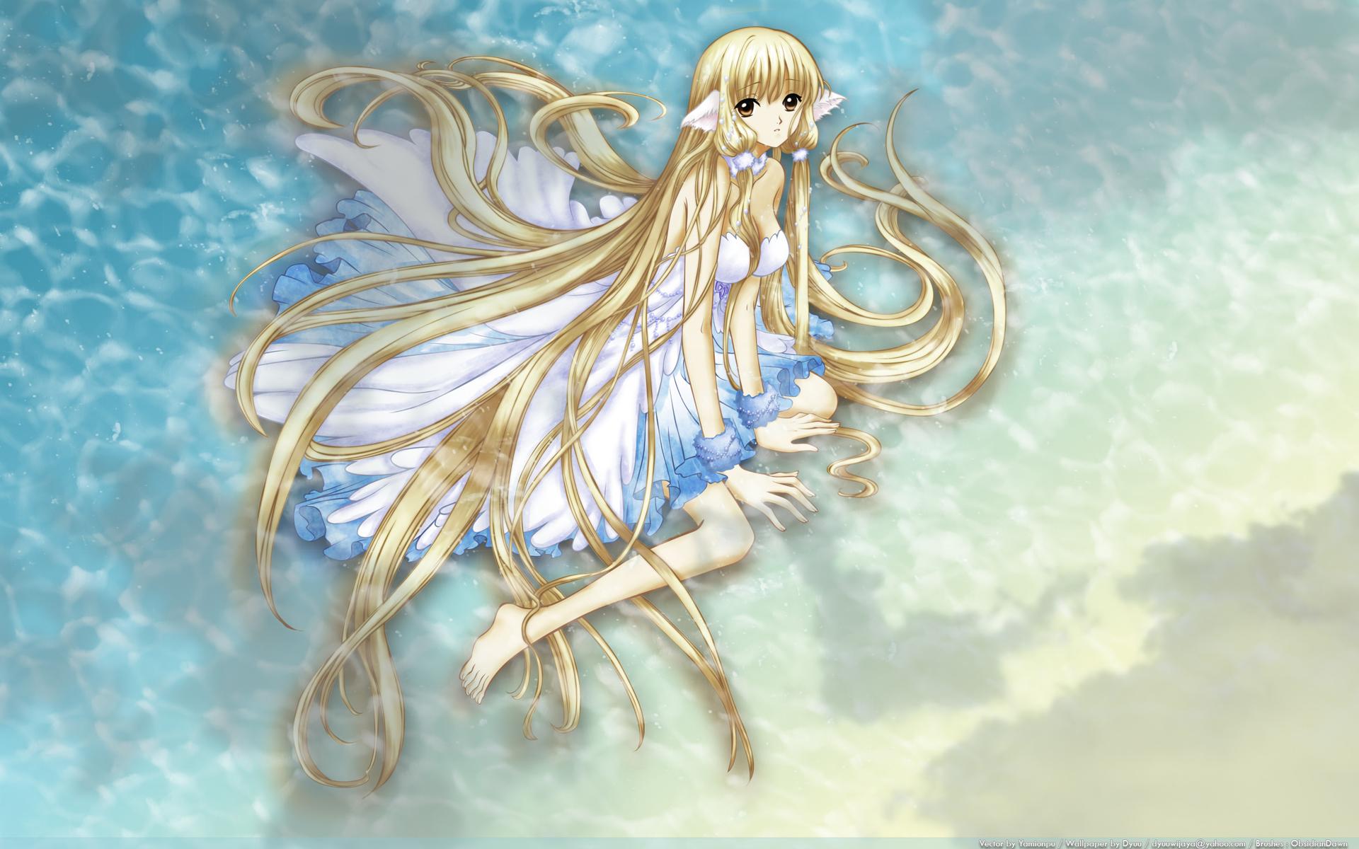 beach blonde_hair brown_eyes chii chobits clamp dress long_hair tsubasa_reservoir_chronicle water wet