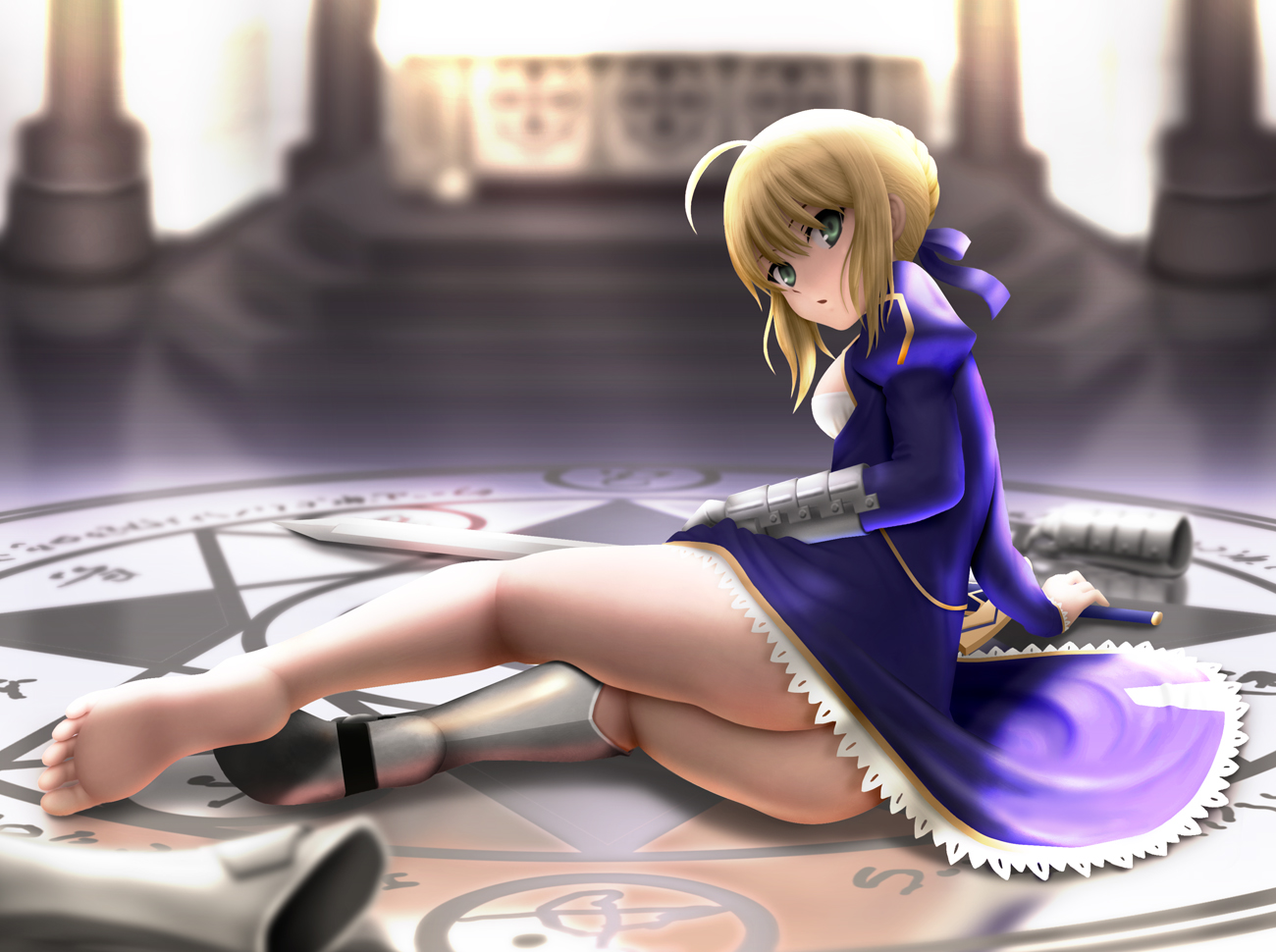 barefoot blonde_hair fate/stay_night green_eyes saber siraha