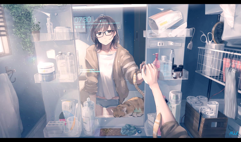 animal brown_eyes brown_hair cat computer glasses maeda_mic mirror original panties reflection short_hair signed underwear