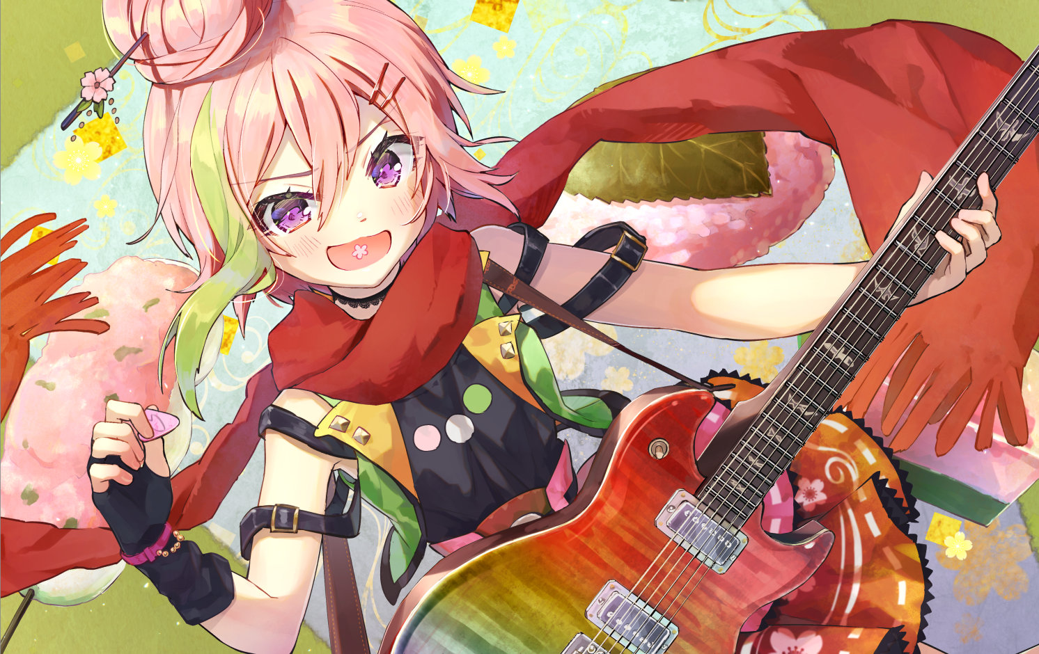 blush elbow_gloves gloves guitar instrument pink_hair purple_eyes sakuramochi_maho scarf short_hair syuri22