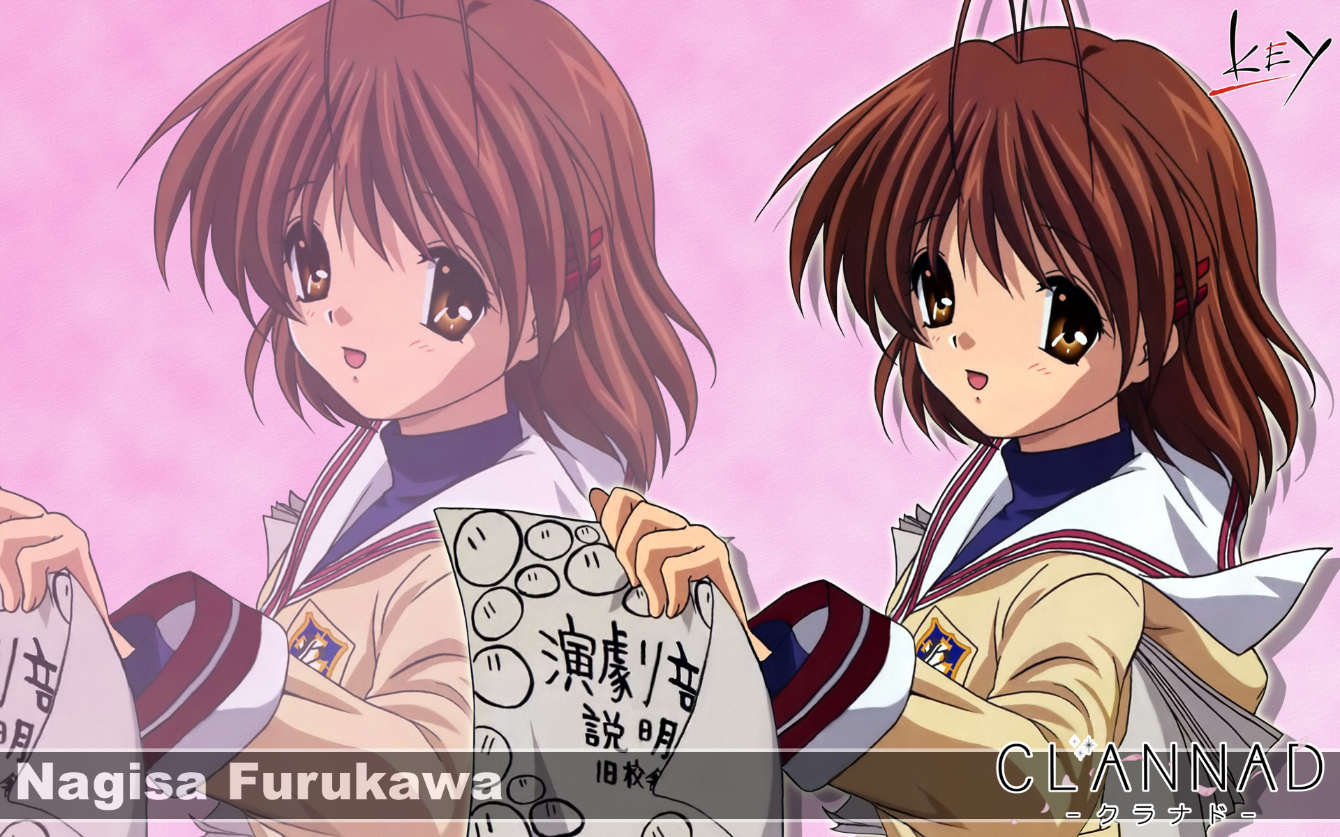 brown_eyes brown_hair clannad dango_(clannad) furukawa_nagisa key logo paper seifuku short_hair zoom_layer