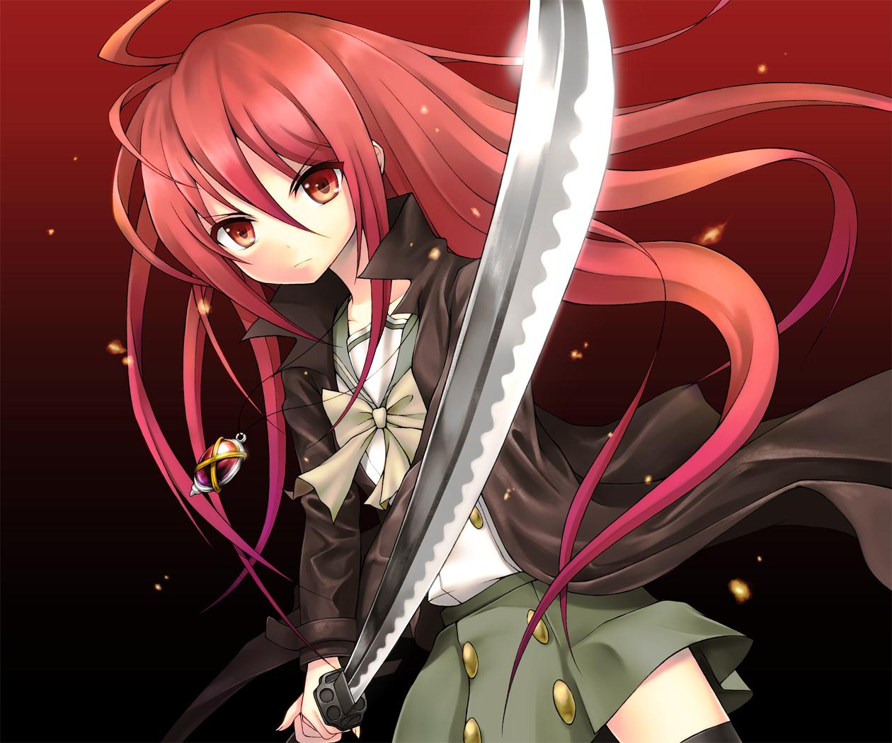 alastor katana maazyu necklace red red_eyes red_hair school_uniform shakugan_no_shana shana sword thighhighs weapon