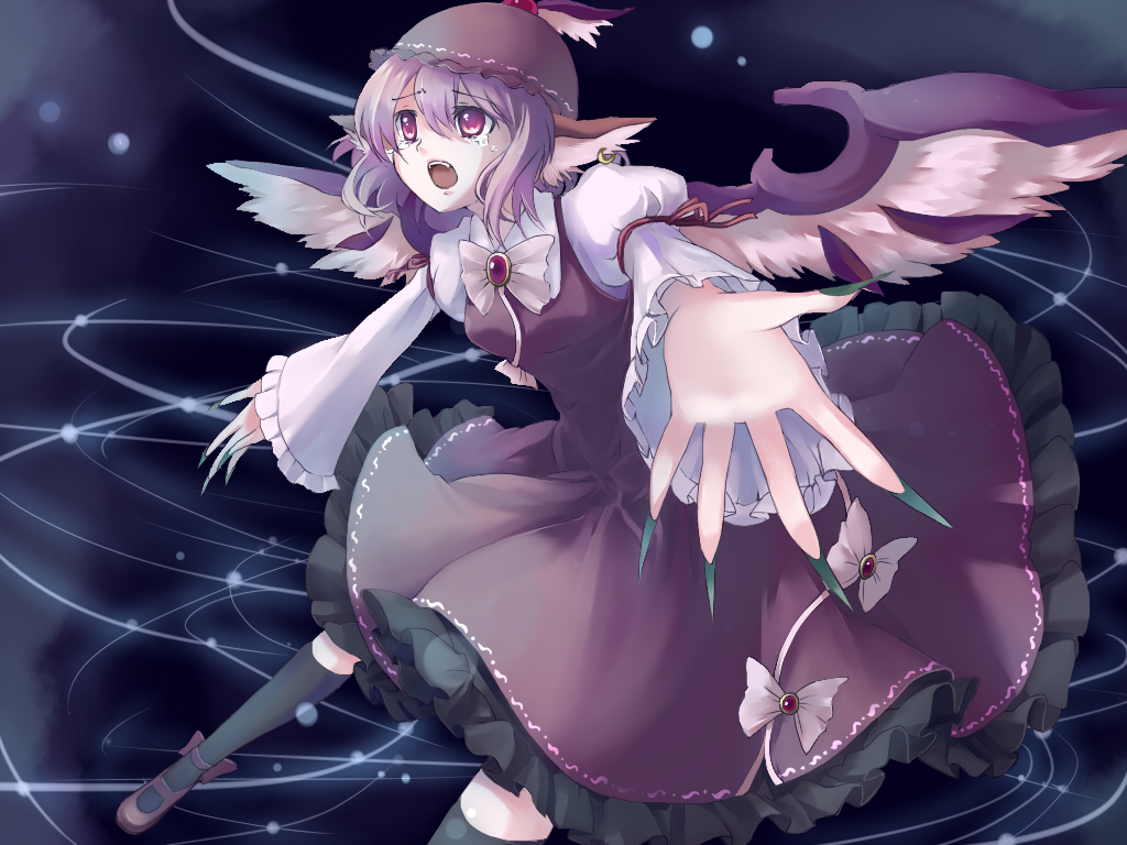 fang hat myaaco mystia_lorelei pink_eyes pink_hair short_hair tears touhou wings