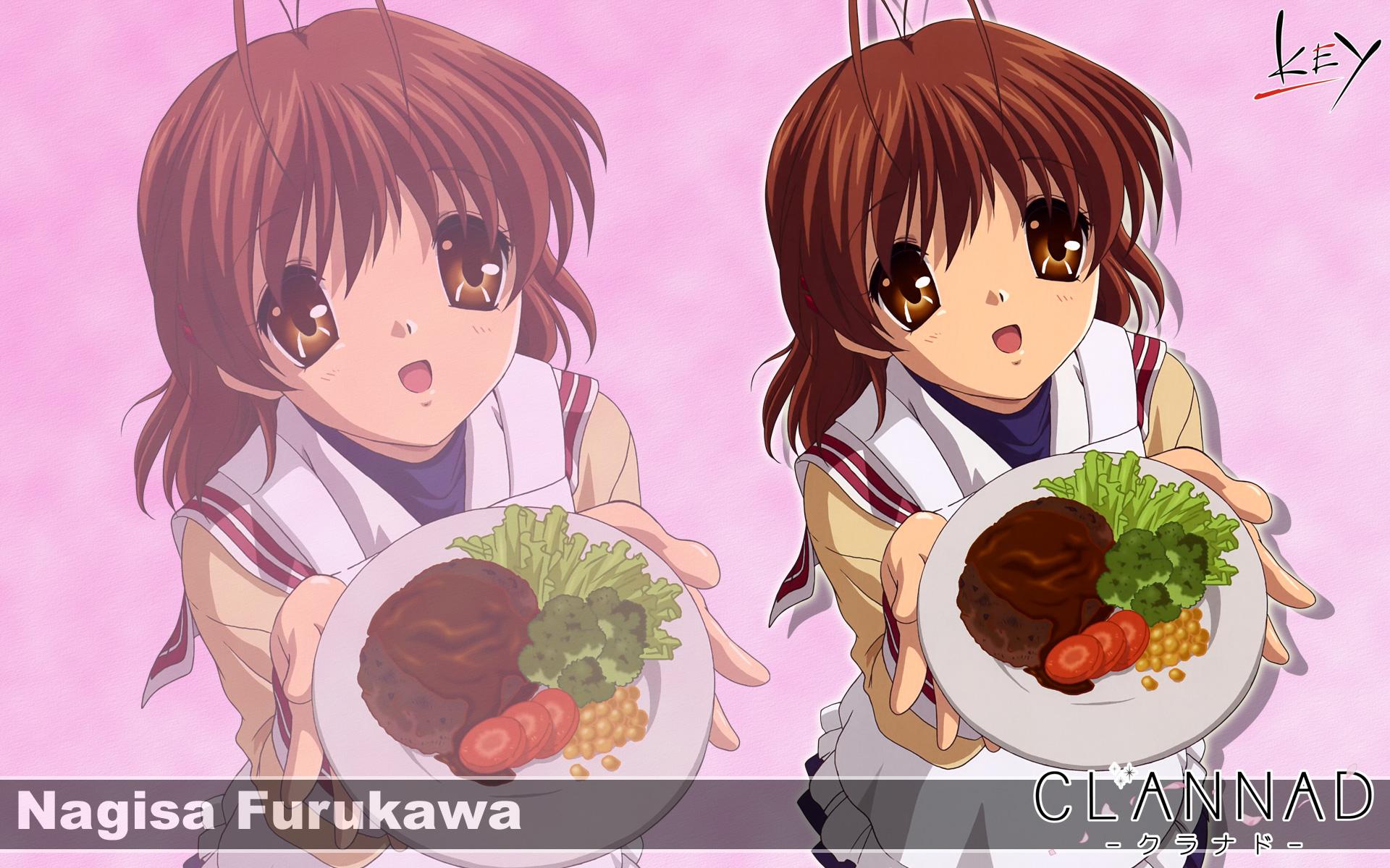 brown_eyes brown_hair clannad food furukawa_nagisa key logo seifuku short_hair zoom_layer