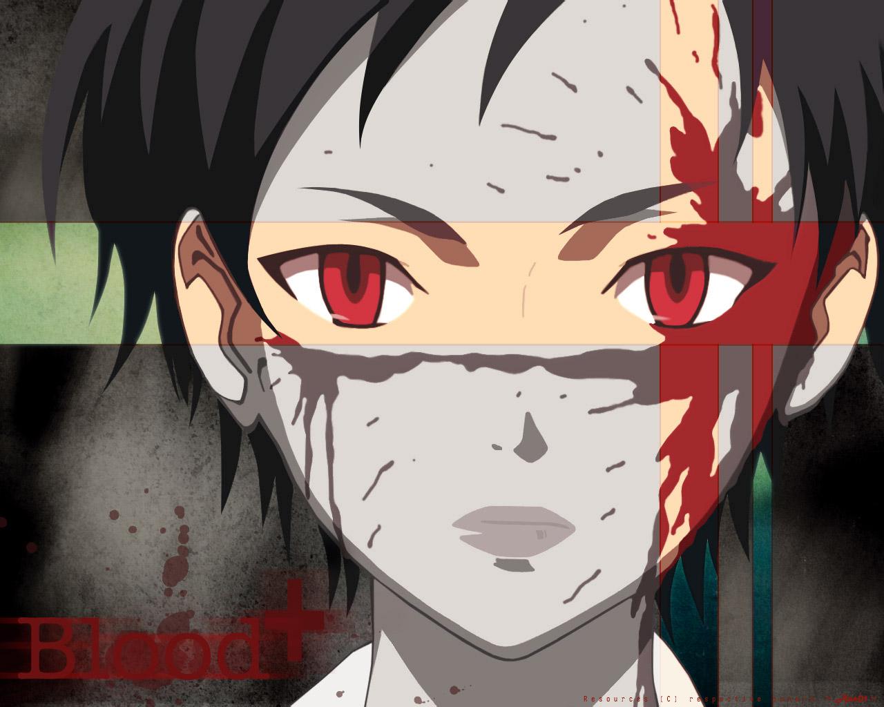 blood blood_(anime) jpeg_artifacts otonashi_saya red_eyes