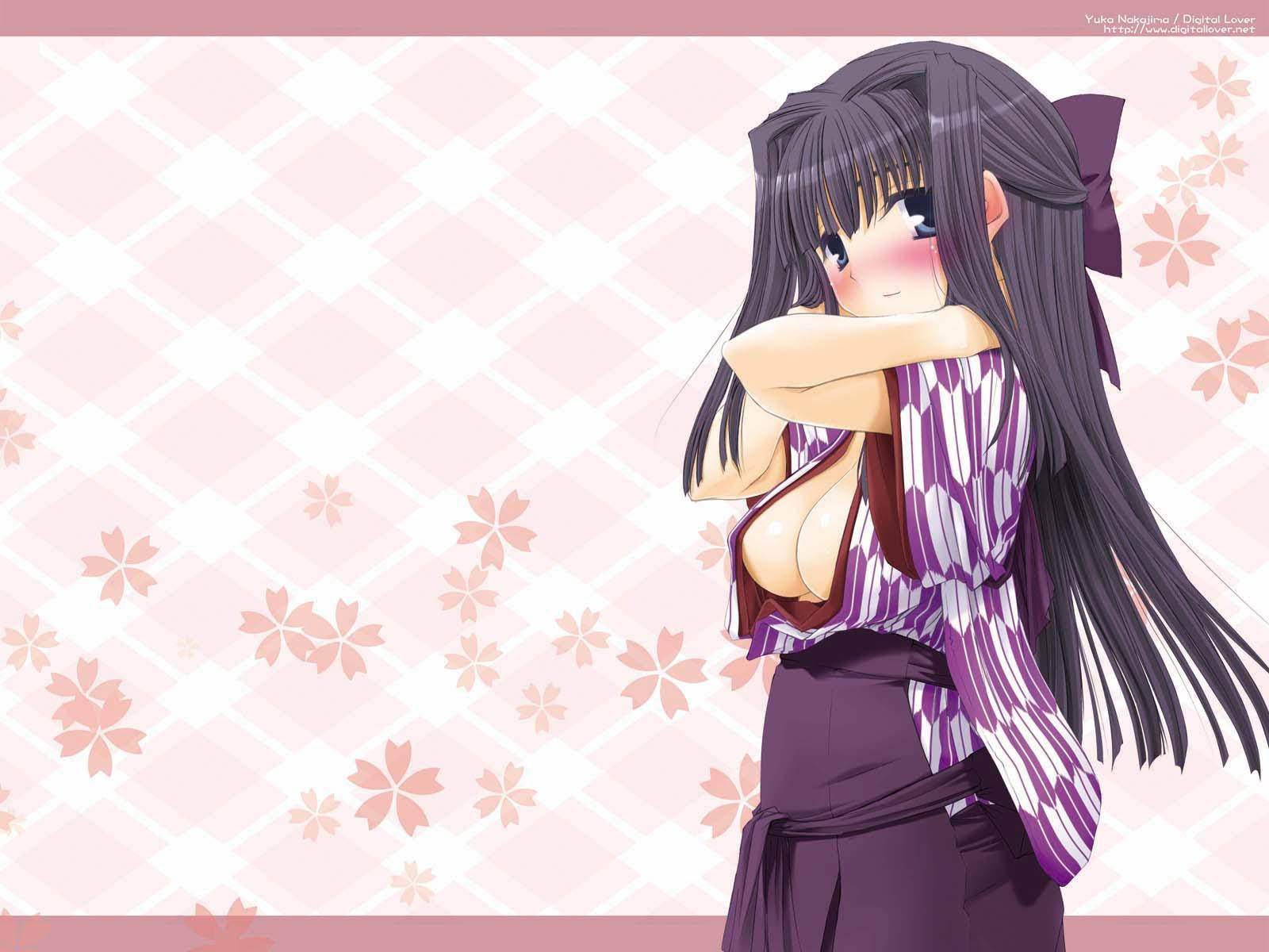 black_hair blue_eyes blush breasts cleavage digital_lover japanese_clothes nakajima_yuka open_shirt ribbons tagme