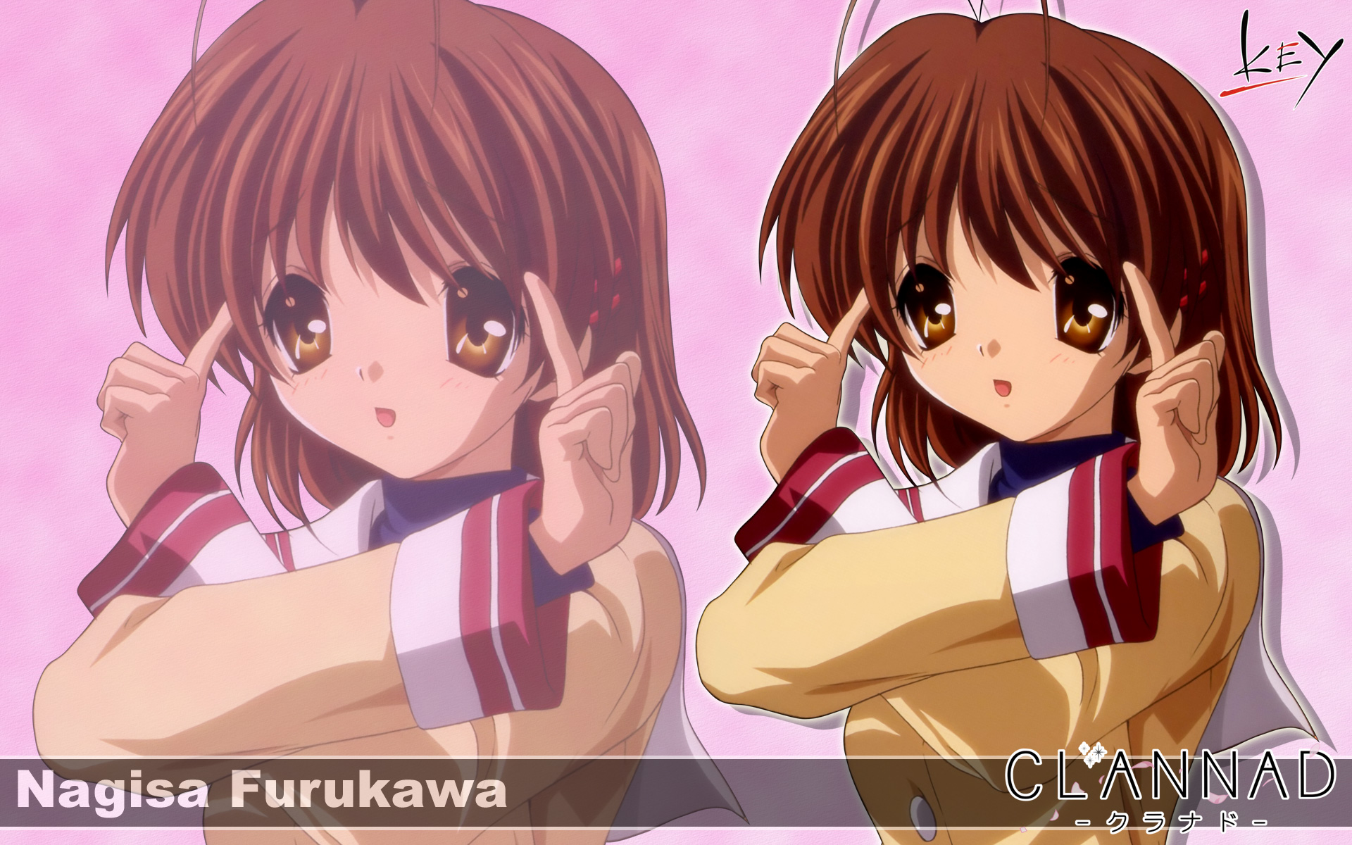 brown_eyes brown_hair clannad furukawa_nagisa key logo seifuku short_hair zoom_layer
