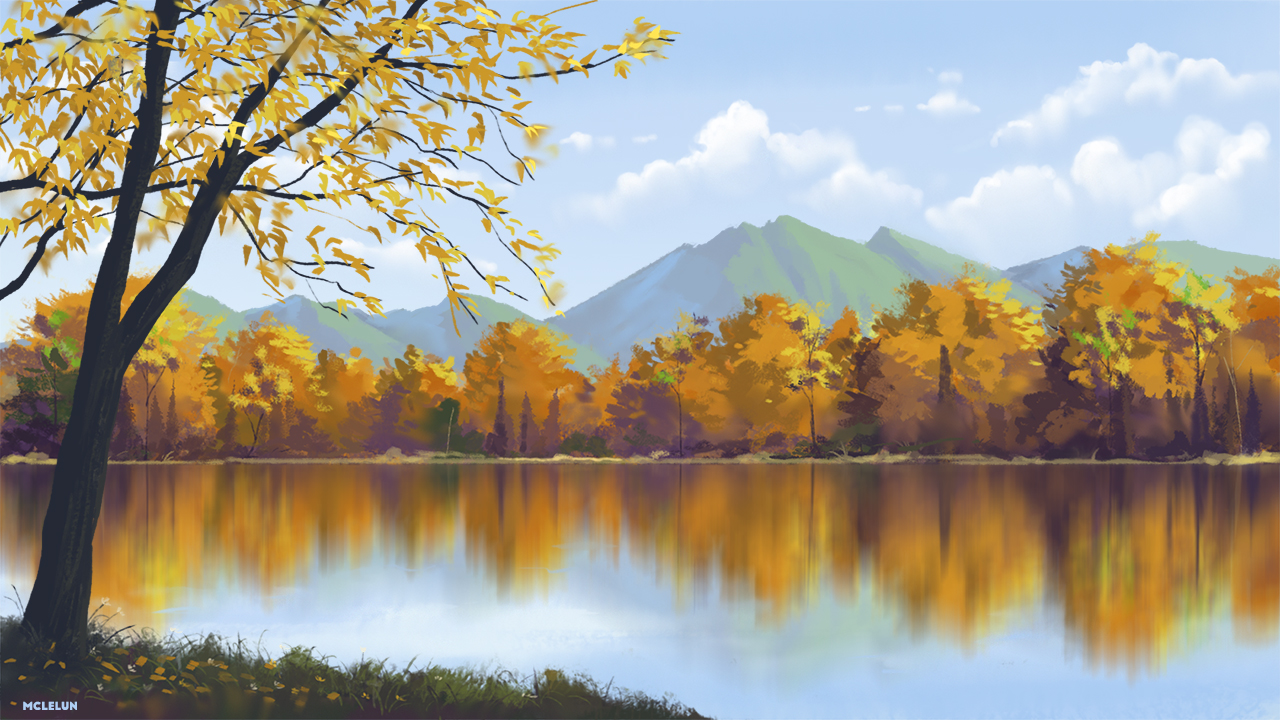 autumn clouds mclelun nobody original petals reflection scenic sky tree water watermark