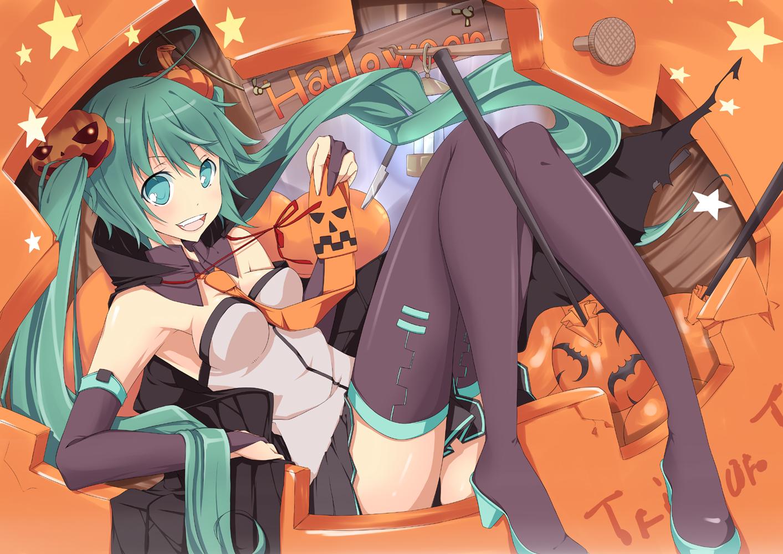 halloween hatsune_miku natsuki_yuu thighhighs tie twintails vocaloid