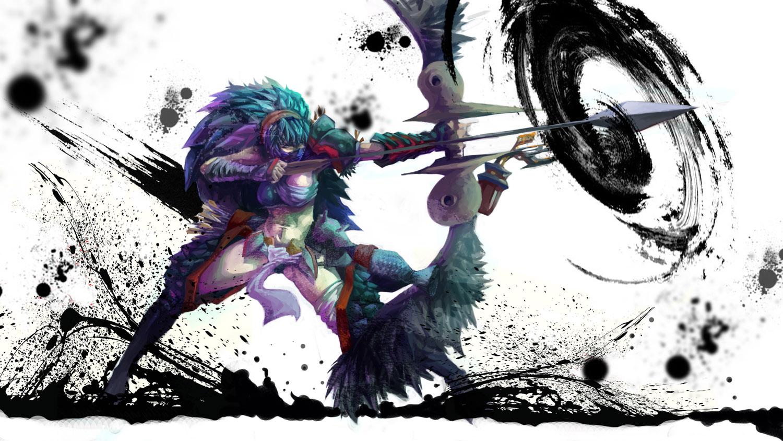 blue_hair bow flameskevin long_hair mask monster_hunter nargacuga_(armor) weapon white