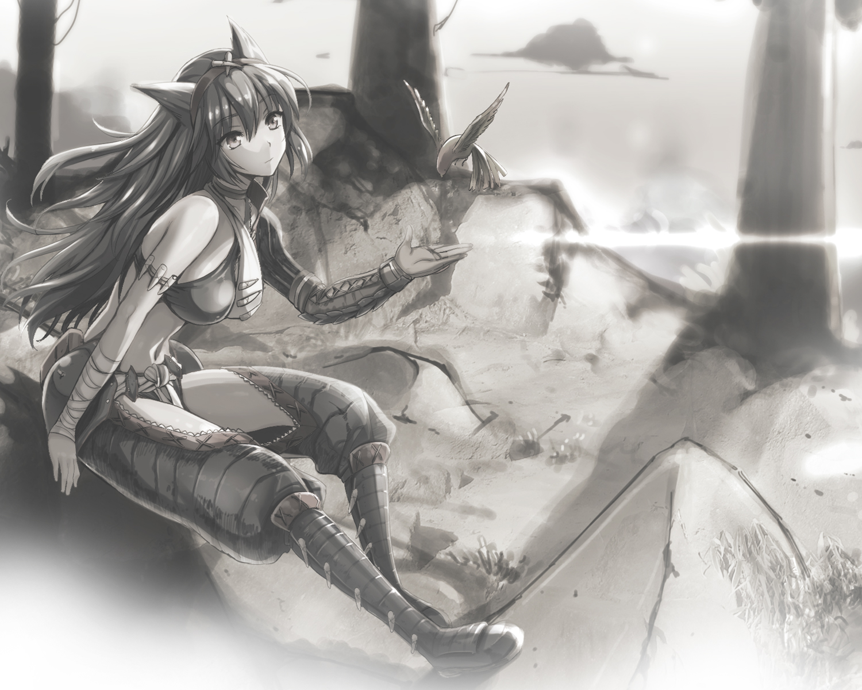 animal bandage bird boots kojima_saya long_hair monochrome monster_hunter nargacuga_(armor) navel