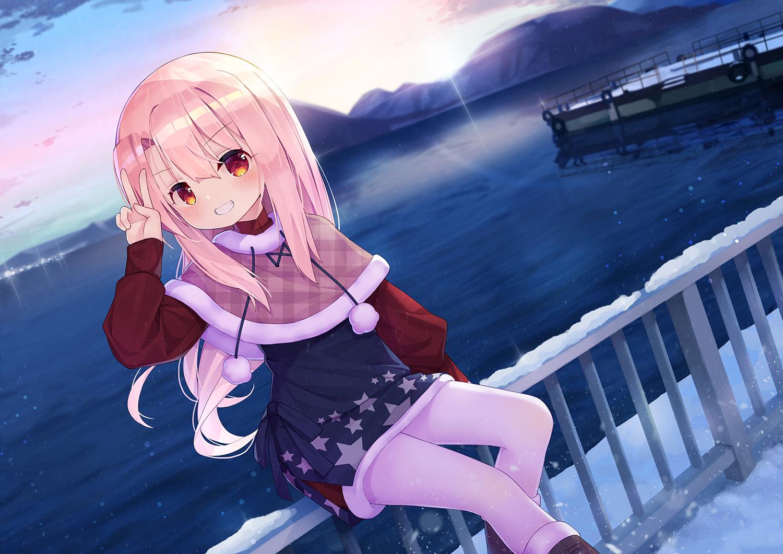 blush fate/kaleid_liner_prisma_illya fate_(series) illyasviel_von_einzbern loli long_hair pink_hair sky taku_michi water winter