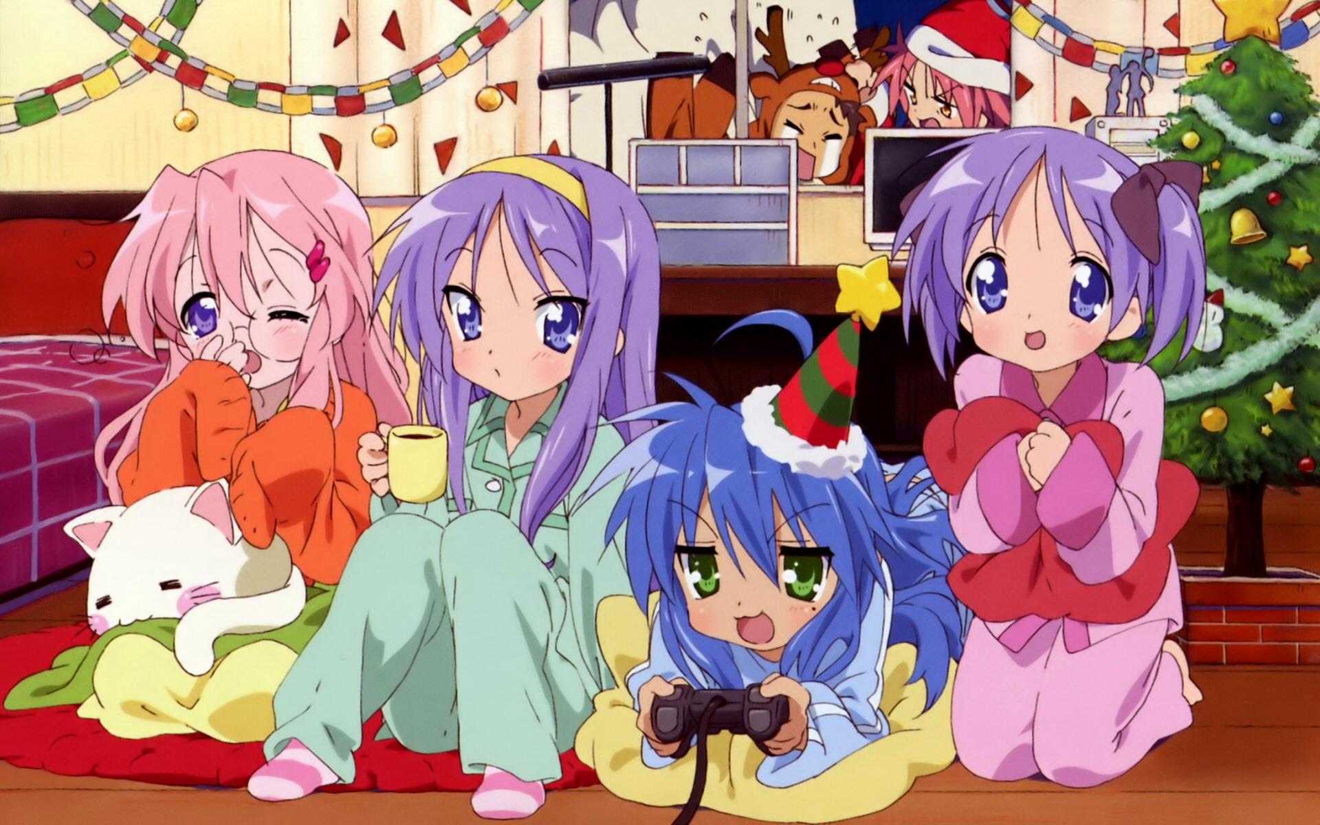 blue_eyes blue_hair blush christmas game_console green_eyes hiiragi_kagami hiiragi_tsukasa izumi_konata kogami_akira long_hair lucky_star pink_hair purple_hair shiraishi_minoru stars takara_miyuki