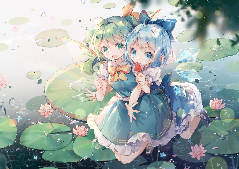 2girls blue_eyes blue_hair blush bow cirno daiyousei dress fairy flowers food green_eyes green_hair hug ponytail popsicle rokusai short_hair touhou water wings