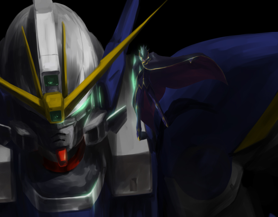 all_male cape code_geass crossover gundam_wing lelouch_lamperouge male mecha mobile_suit_gundam