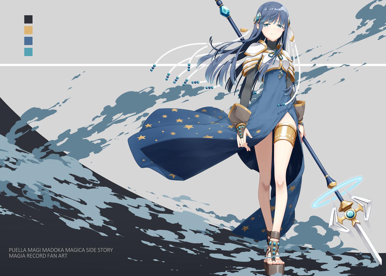 blue_eyes blue_hair dress long_hair magia_record:_mahou_shoujo_madoka_magica_gaiden mahou_shoujo_madoka_magica nanami_yachiyo sakuraba_yuuki spear weapon