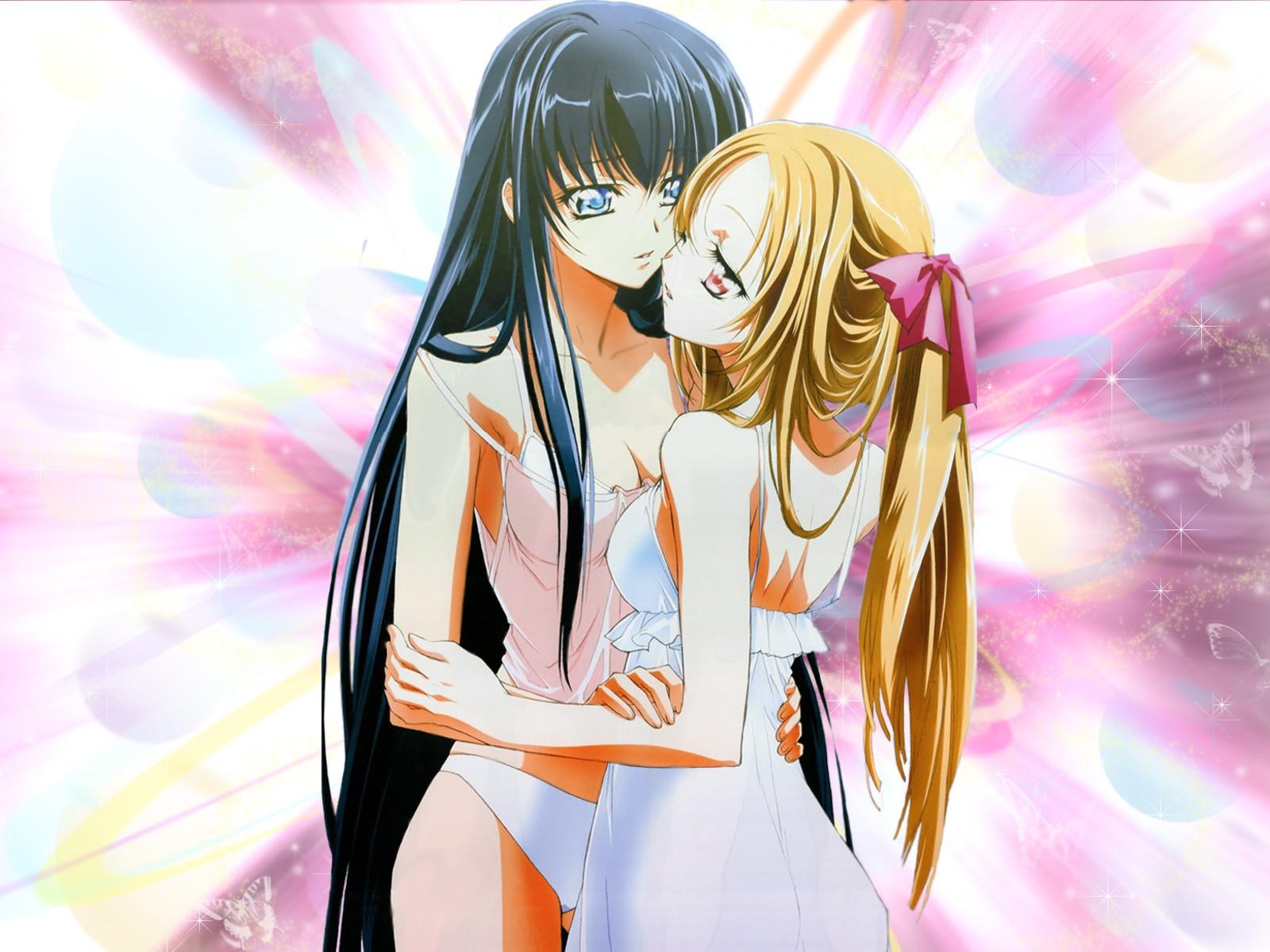2girls azuma_hatsumi azuma_hazuki dress yami_to_boushi_to_hon_no_tabibito yuri