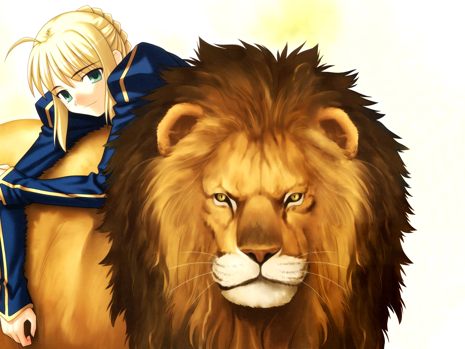 animal artoria_pendragon_(all) blonde_hair fate_(series) fate/stay_night green_eyes lion saber short_hair tagme_(artist) yellow_eyes