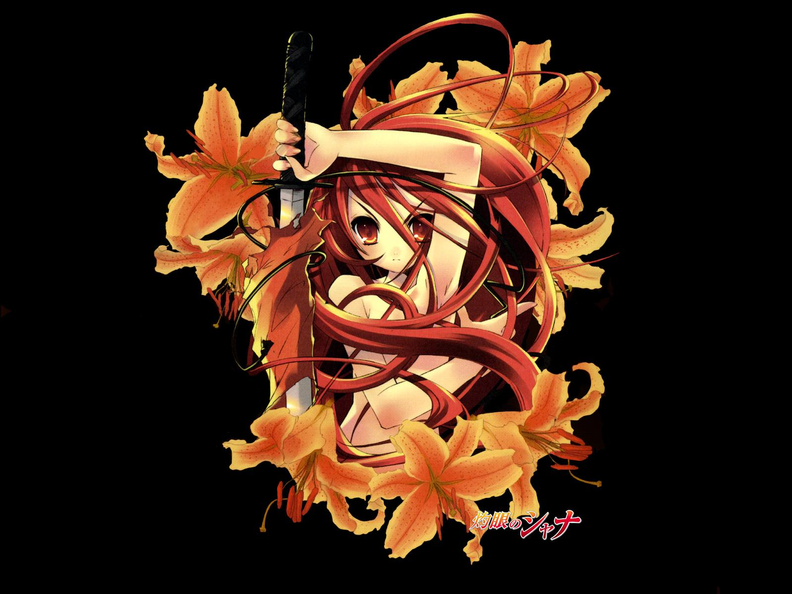 black flowers itou_noiji katana long_hair orange_eyes orange_hair shakugan_no_shana shana sword weapon