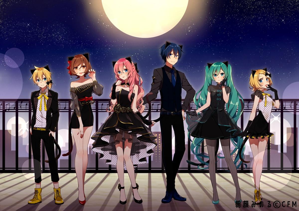 asagao_minoru dress hatsune_miku kagamine_len kagamine_rin kaito megurine_luka meiko moon suit vocaloid