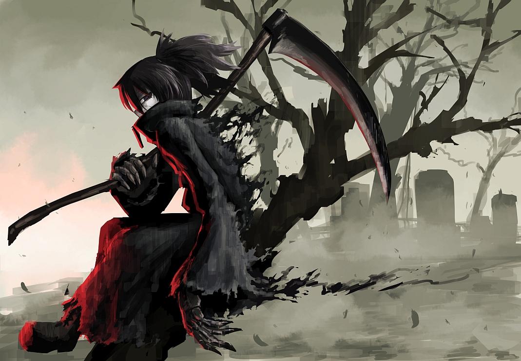Black eyes black hair boots hellshock original scar scythe - Anime scythe wallpaper ...