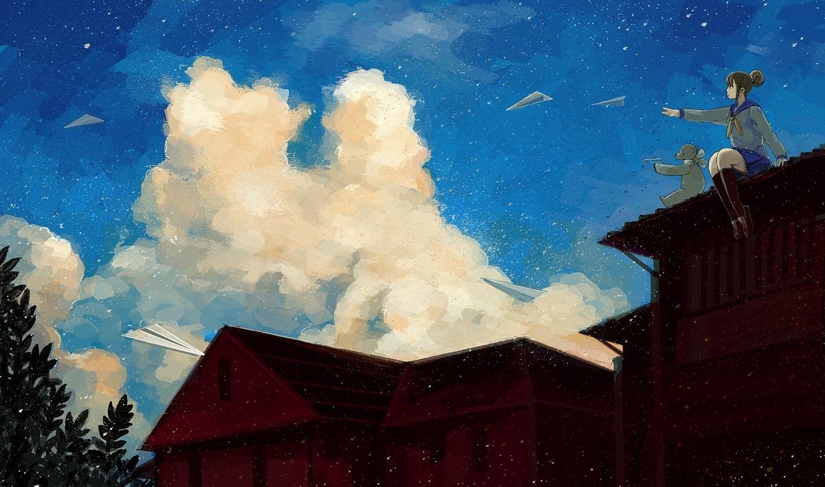 brown_hair clouds kneehighs nomiya_(no_38) original school_uniform skirt teddy_bear tree