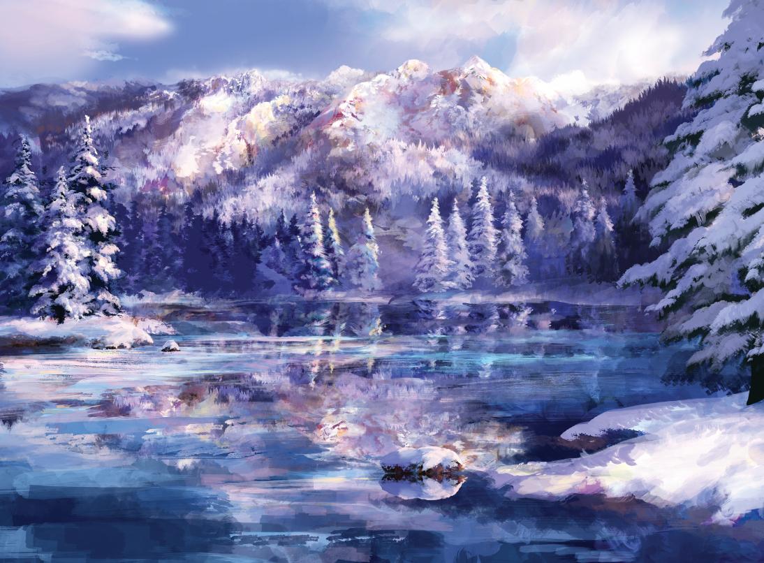 clouds landscape nobody reflection rwby sae-midori scenic sky snow tree water