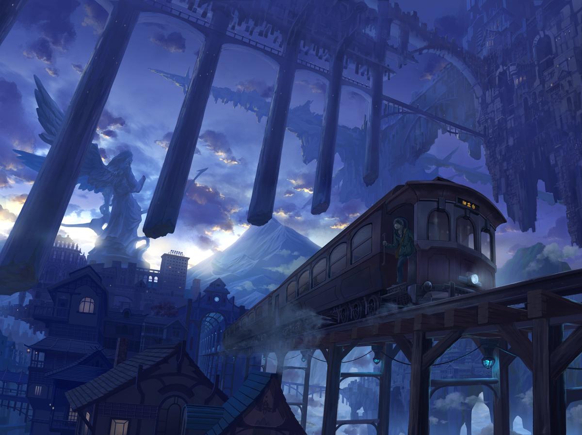 blue building city clouds kaitan original scenic sky train