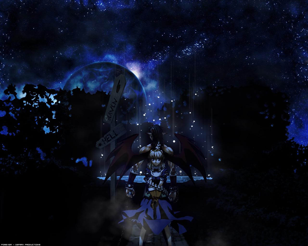 chrno chrono_crusade dark gun night nun pointed_ears rosette_christopher stars weapon wings