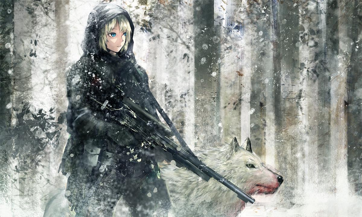 animal blonde_hair blue_eyes gun original seafh short_hair weapon