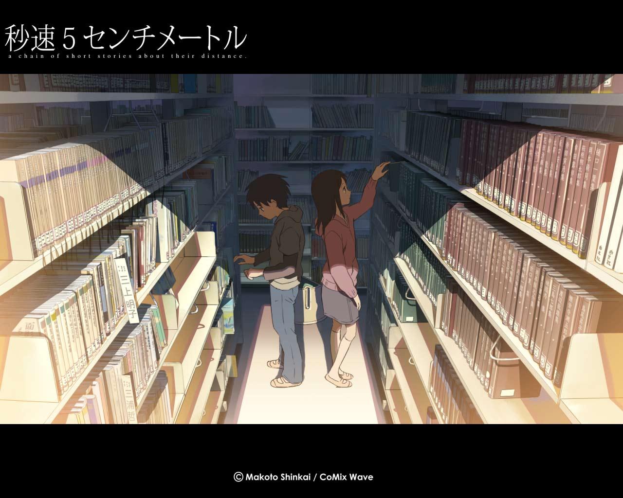 book brown_hair byousoku_5_centimetre shinkai_makoto shinohara_akari toono_takaki