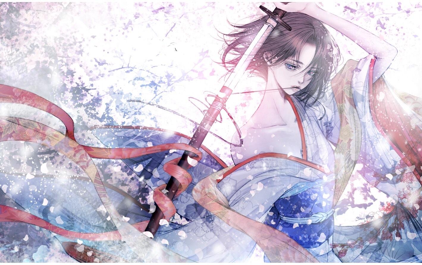 japanese_clothes kara_no_kyoukai katana kimono ryougi_shiki satsuki_kei sketch sword weapon
