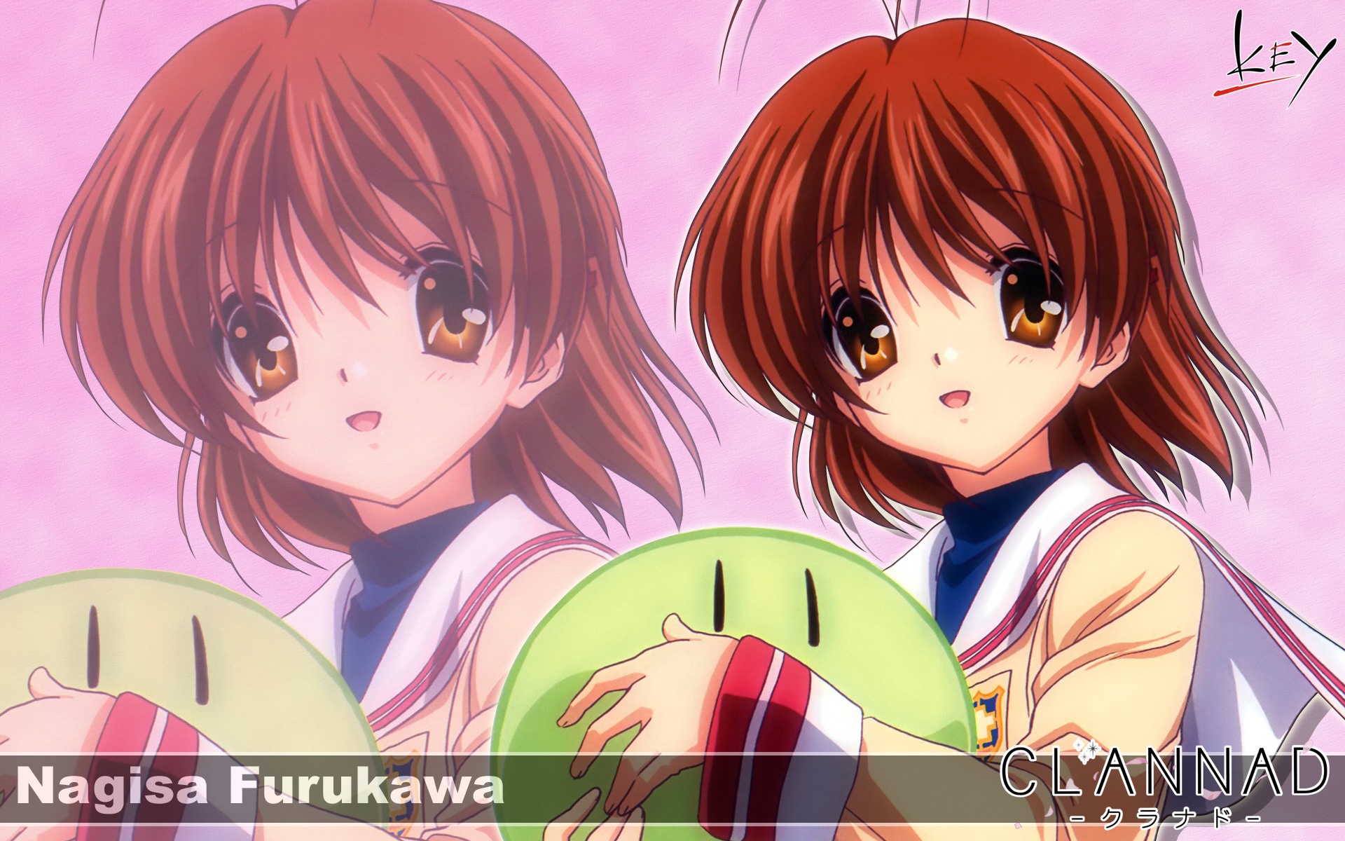 brown_eyes brown_hair clannad dango_(clannad) furukawa_nagisa key logo short_hair zoom_layer