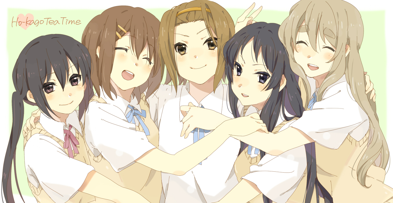 akiyama_mio black_hair blush brown_eyes brown_hair headband hirasawa_yui karuha k-on! kotobuki_tsumugi long_hair nakano_azusa school_uniform short_hair tainaka_ritsu twintails