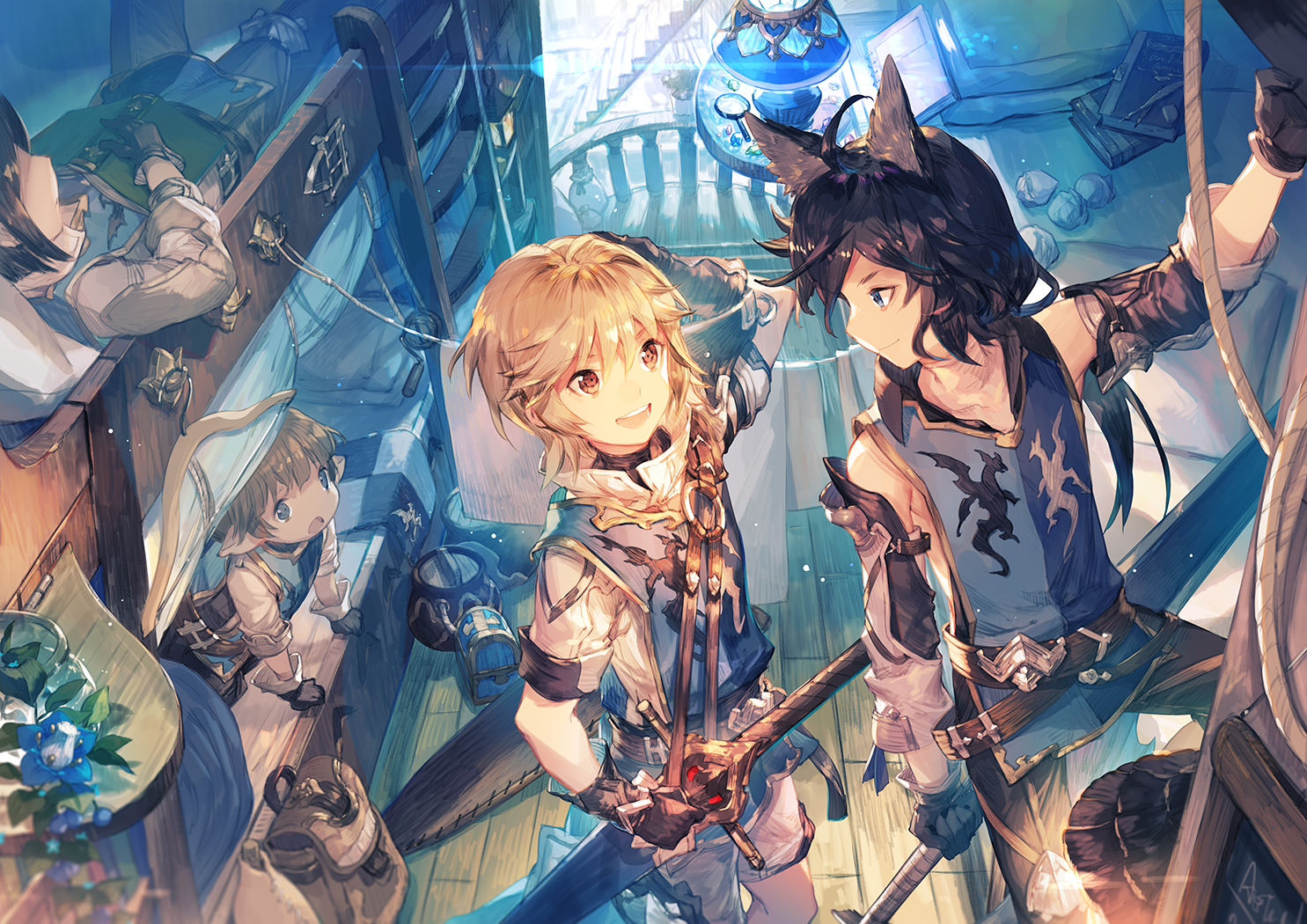 all_male animal_ears armor arthur_(granblue_fantasy) bed black_hair blue_eyes book brown_eyes brown_hair cruz_(granblue_fantasy) elbow_gloves flowers gloves granblue_fantasy group male mordred_(granblue_fantasy) pointed_ears scorpion5050 short_hair sword tornelio_(granblue_fantasy) weapon