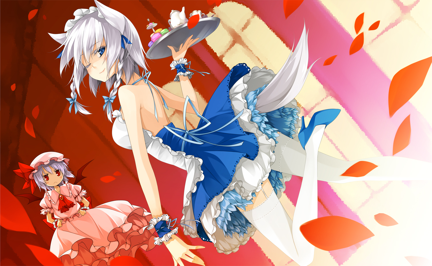 dress foxgirl izayoi_sakuya maid petals red_eyes reina_(black_spider) remilia_scarlet tail thighhighs touhou vampire wings wink