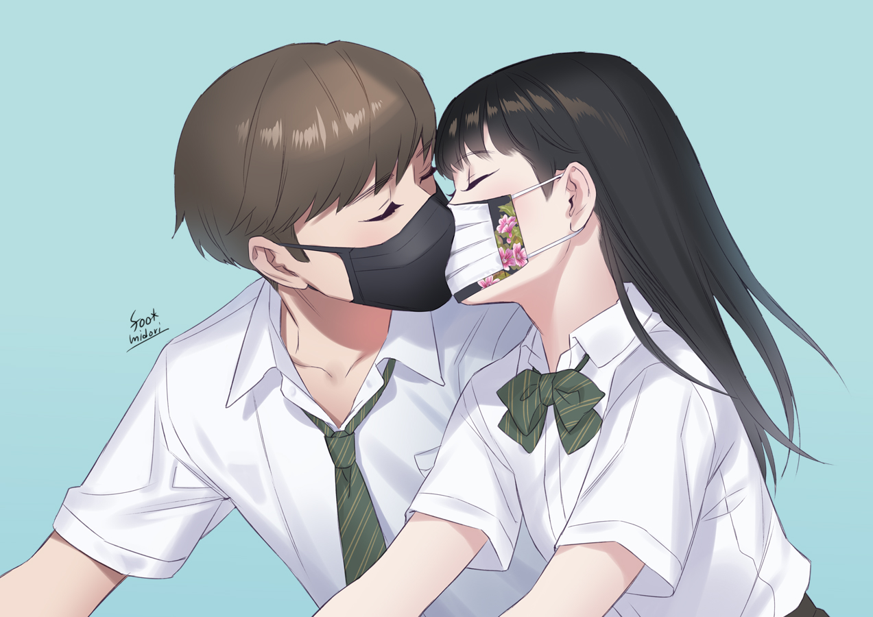 black_hair blue bow brown_hair foo_midori kiss long_hair male mask original school_uniform shirt short_hair signed tie