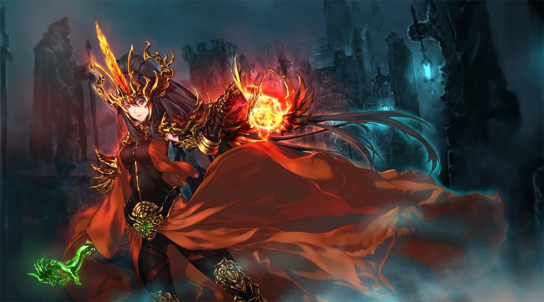 armor black_hair bodysuit building cape fire headdress jian_huang long_hair magic night original ponytail skintight