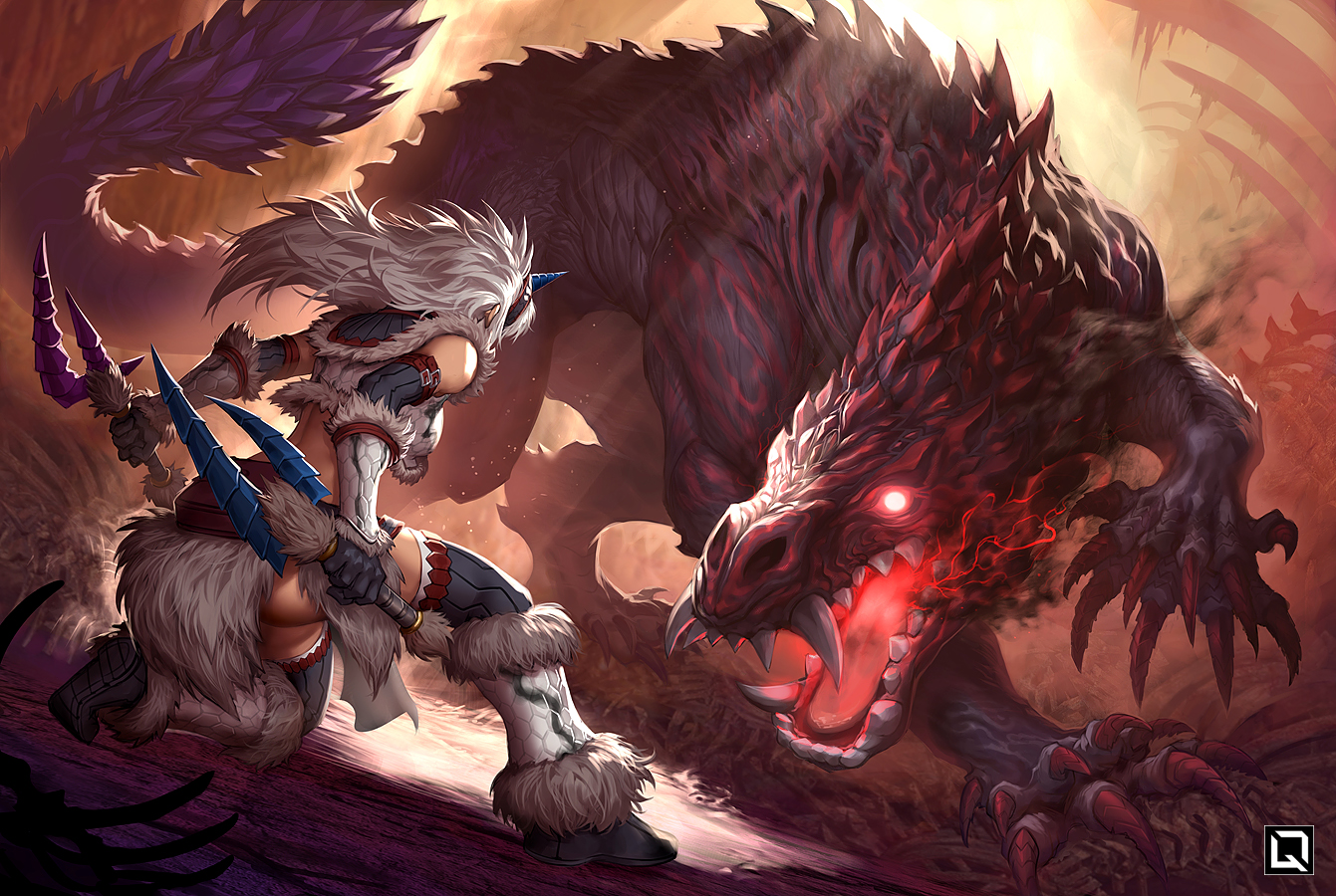 boots gloves gray_hair headband horns kirin_(armor) kuroi-tsuki long_hair monster_hunter monster_hunter:_world odogaron watermark weapon