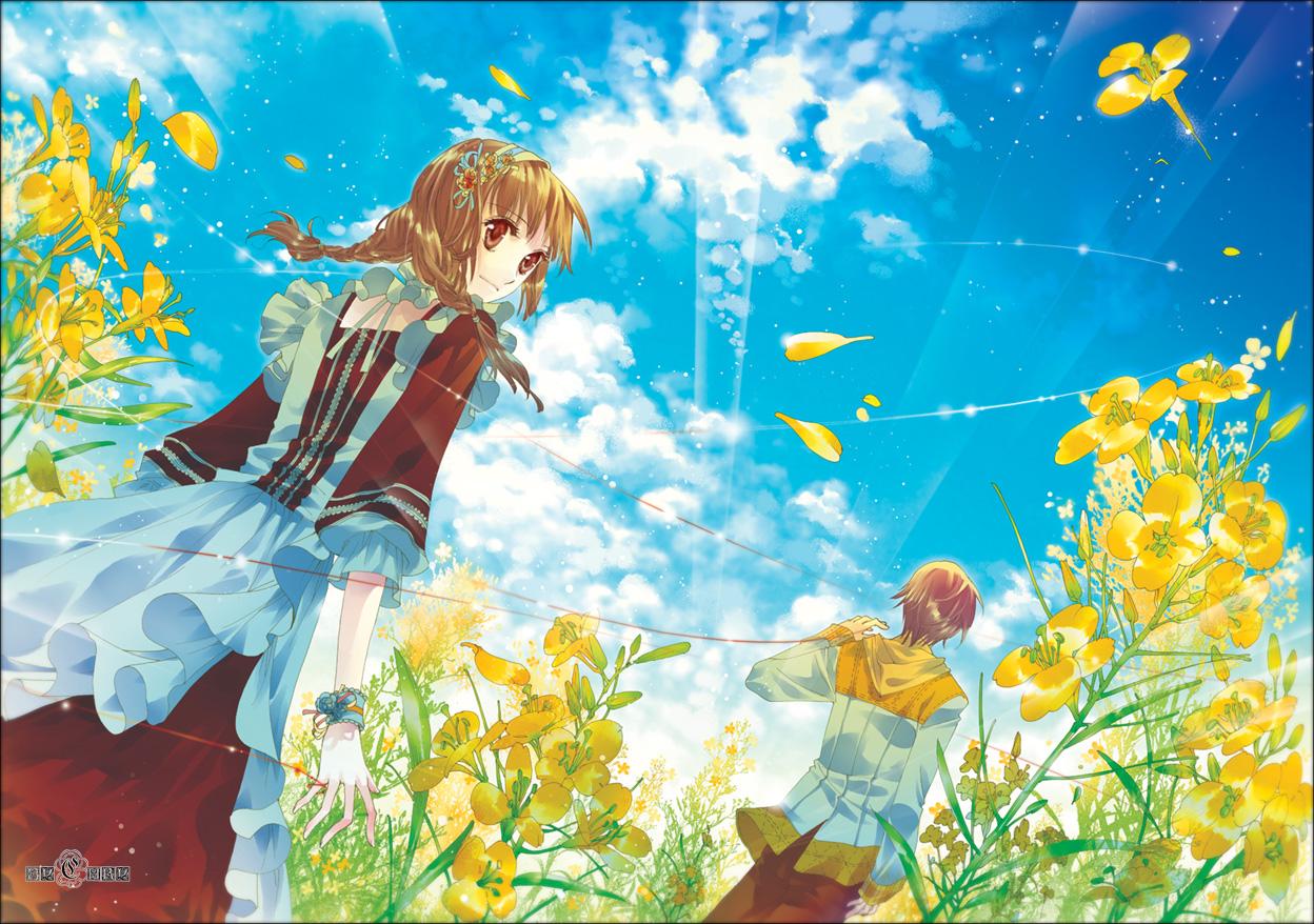 brown_eyes brown_hair clouds dress flowers petals sky